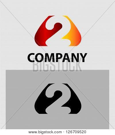 Number 2 logo. Vector logotype design template