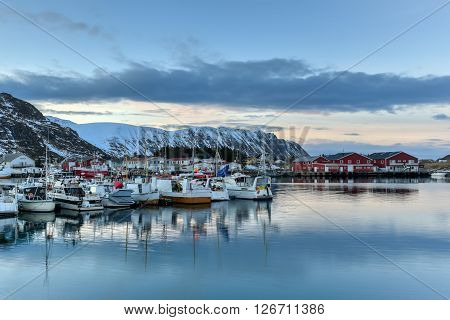 Fishing boats in the village of Fredvang in the Lofoten Islands Norway. poster