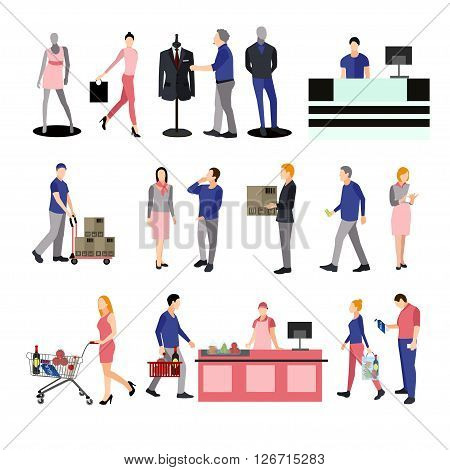 People silhouettes in shopping mall. Icons isolated on white background. Vector illustration in flat style design. People in supermarket with shopping carts and baskets.