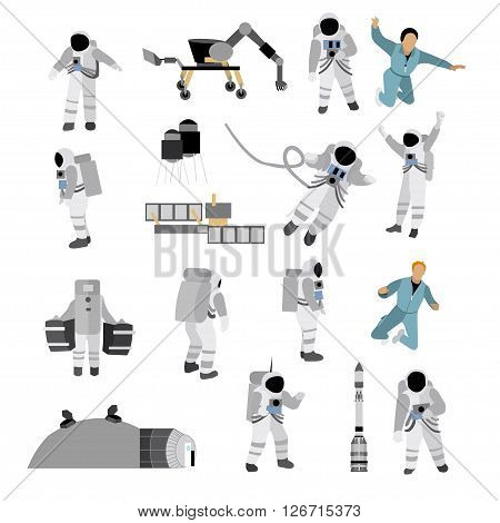 Vector set of space icons in flat style isolated on white background. Astronauts in Space suit, moon space station, rocket, moon rover.