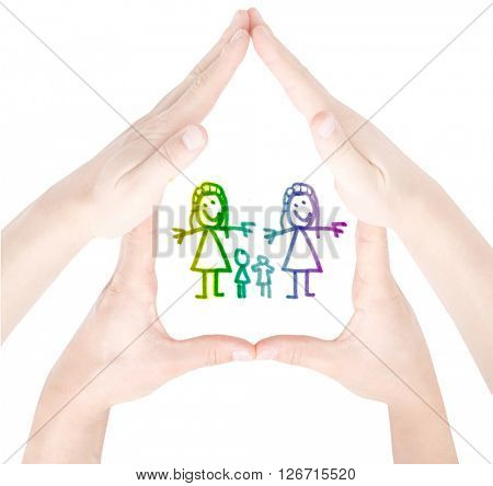 Gay familiy on white