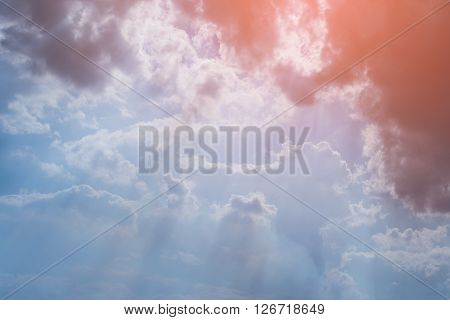 Sunbeam Through The Cloud Of Sunlight In Blue Sky, Abstract Heaven Light Background
