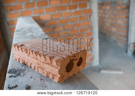Brick Block Material Used For Industry In Residential Building Construction Site
