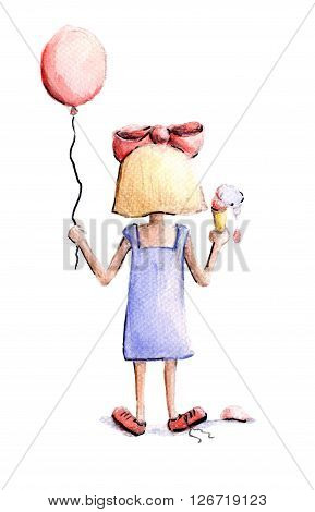 Girl with a big bow on her head and a balloon in his hand is sloppy eating ice cream
