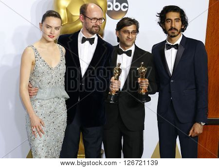 James Gay-Rees, Asif Kapadia, Dev Patel and Daisy Ridley at the 88th Annual Academy Awards - Press Room held at the Loews Hotel in Hollywood, USA on February 28, 2016.