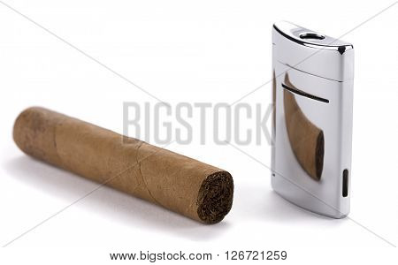Silver cigar lighter and cigar isolated on white background.
