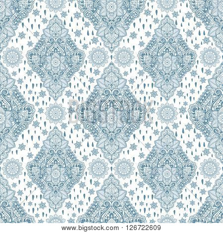 Beautiful Bohemian floral paisley seamless ornament. Folk henna tattoo style seamless pattern. Indian paisley. Vintage vector ornamental flower Indian ethnic seamless pattern with tribal ornaments.