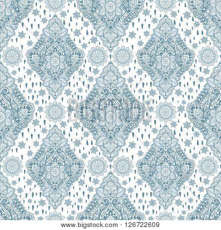 Beautiful Bohemian floral paisley seamless ornament. Folk henna tattoo style seamless pattern. Indian paisley. Vintage vector ornamental flower Indian ethnic seamless pattern with tribal ornaments.