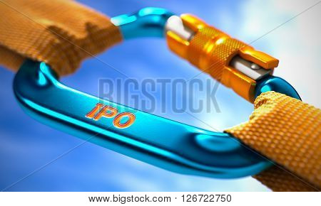 Strong Connection between Blue Carabiner and Two Orange Ropes Symbolizing the IPO -  Initial Public Ofering. Selective Focus. 3D Render.