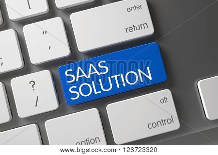 Saas Solution Concept: Laptop Keyboard with Saas Solution, Selected Focus on Blue Enter Button. Blue Saas Solution Keypad on Keyboard. 3D Illustration.