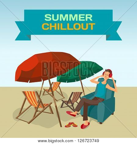 Background with sea landscape summer beach sun umbrellas beach beds. Music lover man listens to music with headphones while sitting in chair. Frame with summer chillout. Vector flat illustration