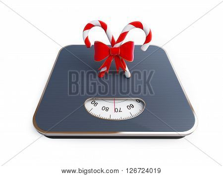 candy on the scale 3D rendering on a white background