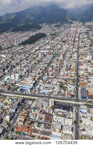 Aerial view of the northern sector of downtown Quito, the streets Las Casas, Cuero y Caicedo, Selva Alegre and Av. Aug. 10.