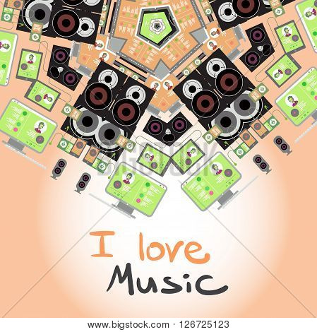 Background with home stereo flat vector illustration for music lovers. Loudspeakers player receiver subwoofer remote vinyl smartphone tablet headphones background with place for text