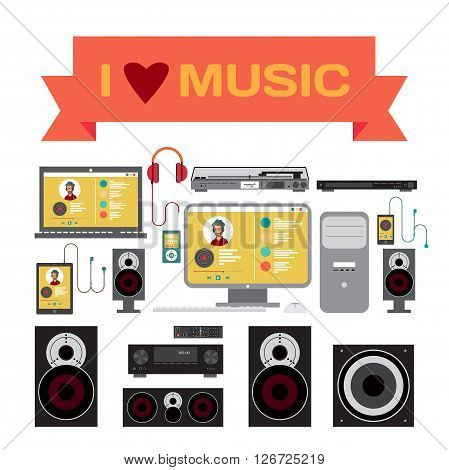 Home sound system. Home stereo flat vector illustration for music lovers. Loudspeakers player receiver subwoofer computer remote vinyl smartphone tablet headphones for listening to music