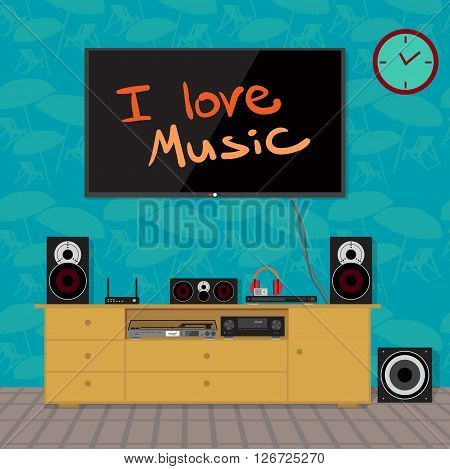 Home cinema system in interior room. Home theater flat vector illustration. TV, loudspeakers, player, receiver, subwoofer, vinyl turntable for home movie theater and music in the apartment