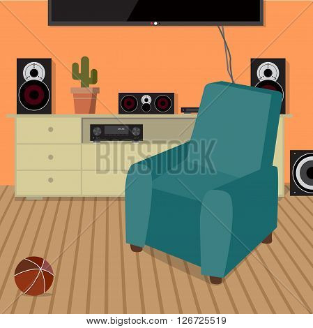 Home sound system in interior room. Home music flat vector illustration. Loudspeakers, player, receiver for home music lover in the apartment. Great place to relax on the armchair