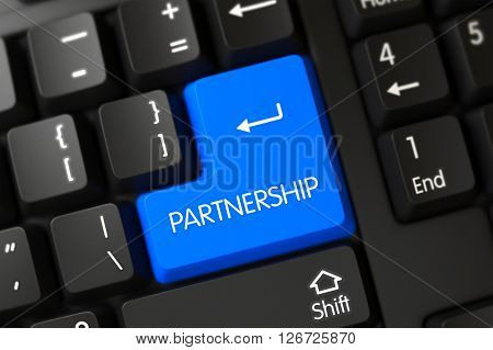 Concepts of Partnership, with a Partnership on Blue Enter Key on Computer Keyboard. Partnership Close Up of PC Keyboard on a Modern Laptop. Key Partnership on Black Keyboard. 3D.