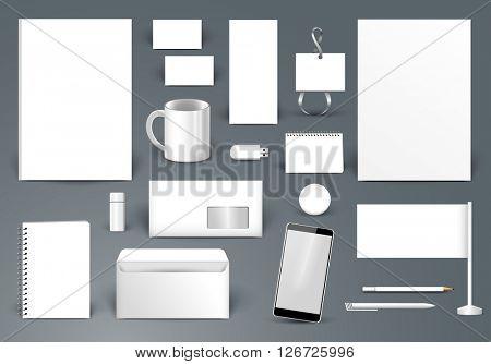 Corporate identity template. Branding design.  Letter envelope, card, catalog, pen, pencil, badge, paper cup, smartphone, letterhead, calendar