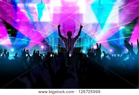 Electronic dance music festival with dancing people and glowing lights. Creative illustration.