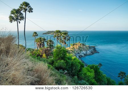 View of Promthep Cape - best view point Phuket island Thailand
