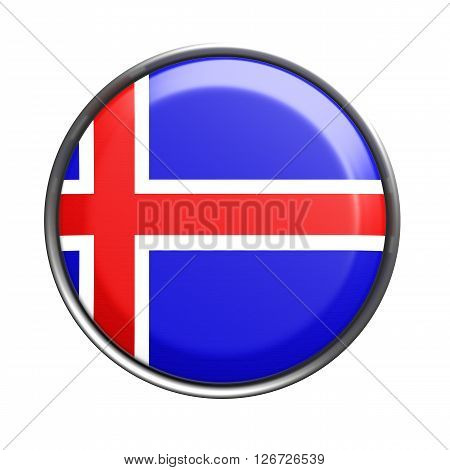 Button With Iceland Flag