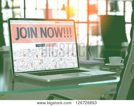 Join Now Concept Closeup on Landing Page of Laptop Screen in Modern Office Workplace. Toned Image with Selective Focus. 3D Render.