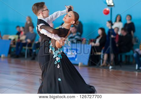 Minsk Belarus -April 3 2016: Mahnach Nikita and Karchevskaya Yuliya Perform Youth-2 Standard Program on the IDSA Championship Kinezis Star Cup - 2016 in April 3 2016 in Minsk Republic of Belarus