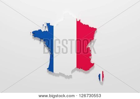 Silhouette Of France With French Flag
