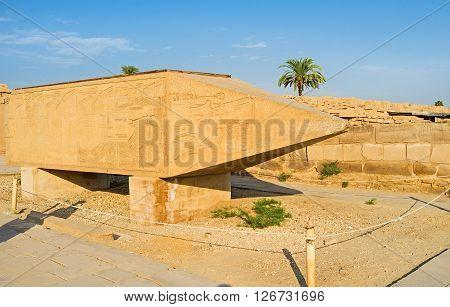 LUXOR EGYPT - OCTOBER 7 2014: One of the ancient obelisks of Queen Hatshepsut lying horizontal Karnak Temple on October 7 in Luxor.