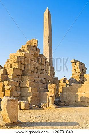 The high granite obelisk of Queen Hatshepsut id the pearl of Karnak Temple Luxor Egypt.