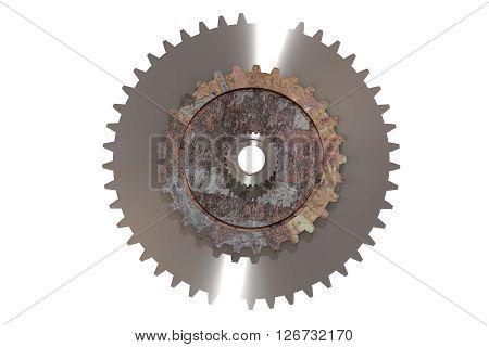 Three-dimensional Rusty Cogwheel