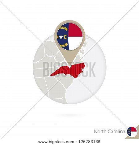 North Carolina Us State Map And Flag In Circle. Map Of North Carolina, North Carolina Flag Pin. Map