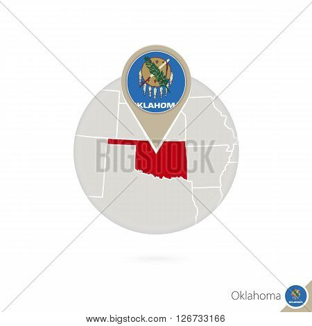 Oklahoma Us State Map And Flag In Circle. Map Of Oklahoma, Oklahoma Flag Pin. Map Of Oklahoma In The
