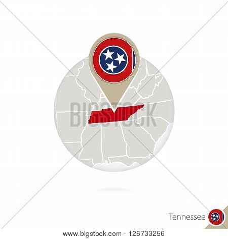 Tennessee Us State Map And Flag In Circle. Map Of Tennessee, Tennessee Flag Pin. Map Of Tennessee In