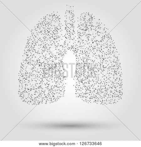 Abstract human lung from dots and lines. Technology background. Human lung illustration. Design element in vector.