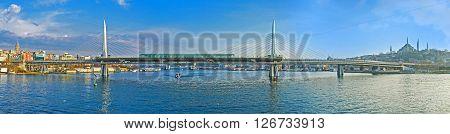 Panorama of the Metro Bridge connecting the Beyoglu and Fatih districts Istanbul Turkey.