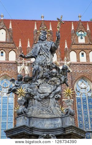 The monument of John of Nepomuk on Tumskoe island in Wroclaw