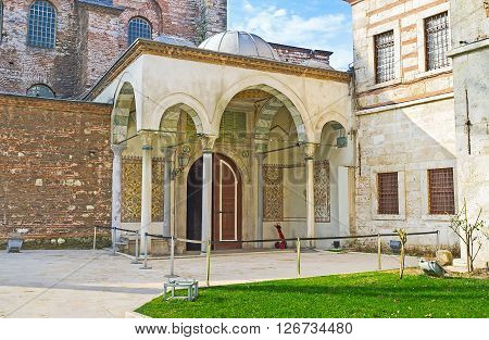 The entrance to the Hagia Irene Orthodox Church decorated in Ottoman style since it was converted into a mosque Istanbul Turkey.