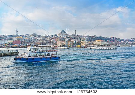 ISTANBUL TURKEY - JANUARY 21 2015: The ferries in Istanbul serve as the public transport and the tourist attraction on January 21 in Istanbul.
