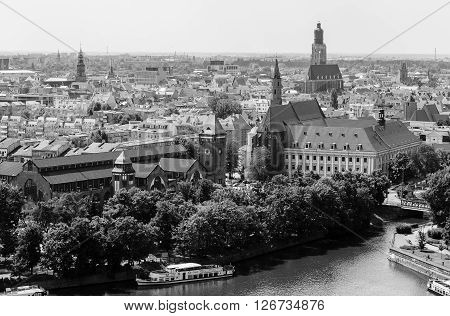 The view from the tower of the Cathedral of Saint John the Baptist. Wroclaw. Poland
