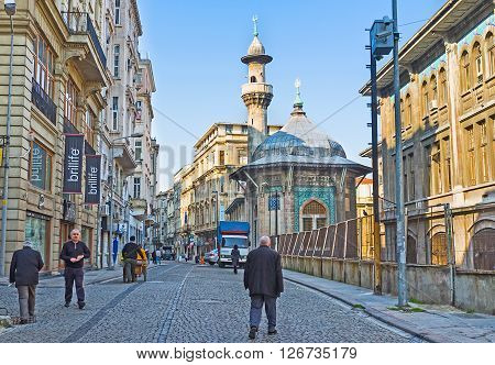 ISTANBUL TURKEY - JANUARY 21 2015: The Hobyar Cami (Mosque) is the small hexagonal building decorated with famous Turkish Kutahya tiles but located far from the tourist routes on January 21 in Istanbul.