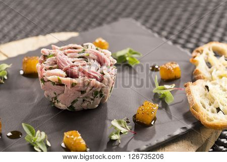 Potted gammon & peppered pineapple, micro herbs