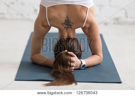 Yoga Supported Headstand, Close-up