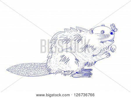 illustration depicting a beaver staring at a butterfly that is stranded on his nose