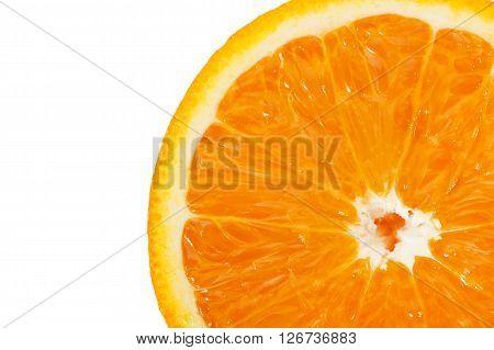 Slice Of An Orange On A White Background