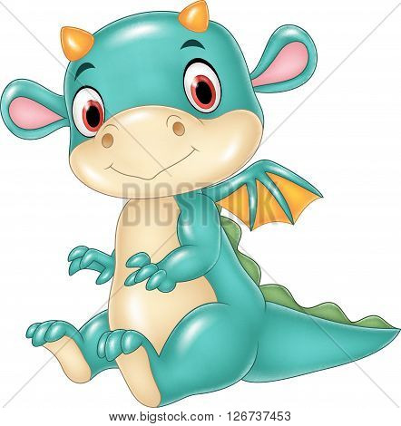Vector illustration of Cute baby dragon isolated on white background