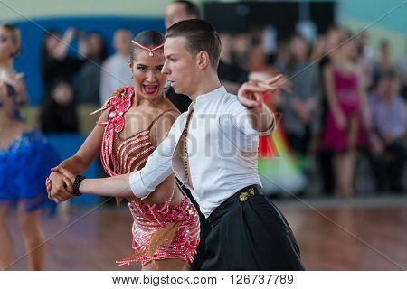 Minsk Belarus -April 3 2016: Vasilenko Nikita and Bulichnikova Elizaveta Perform Youth Latin-American Program on IDSA Championship Kinezis Star Cup - 2016 in April 3 2016 Minsk Republic of Belarus