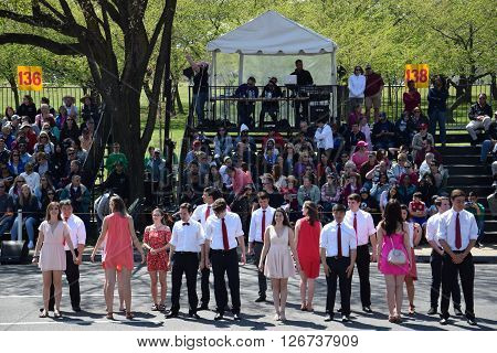 WASHINGTON, DC - APR 16: Performers at the 2016 National Cherry Blossom Parade in Washington DC, as seen on April 16, 2016. Thousands of visitors gathered to attend this annual event.
