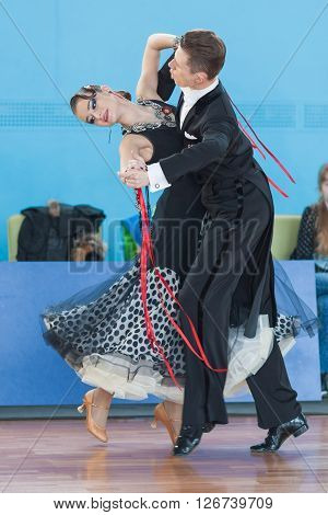 Minsk Belarus -April 3 2016: Shepelev Vladislav and Vinnik Aleksandra Perform Youth-2 Standard Program on the IDSA Championship Kinezis Star Cup - 2016 in April 3 2016 in Minsk Republic of Belarus